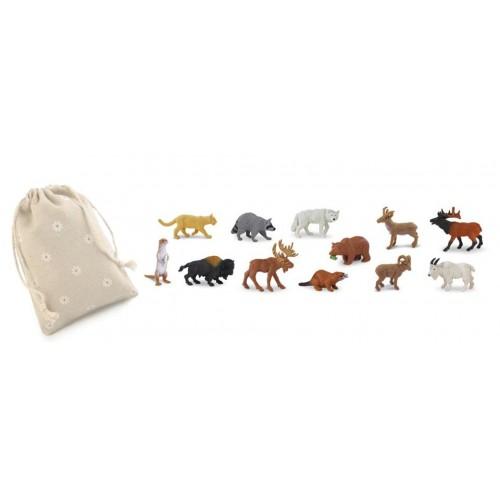 Zvířata Severní Ameriky - Safari Ltd (balení v lněném pytliku)