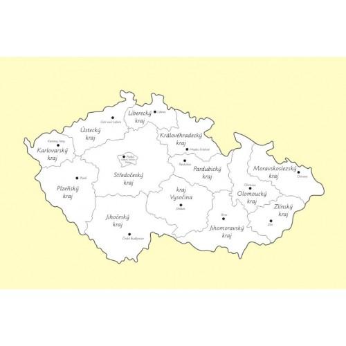 Kontrolní mapa Česká republika s popisky