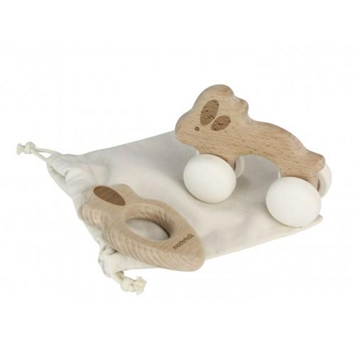 Sada - dřevěné zvíře na kolečkách a kousátko - králík a mrkev