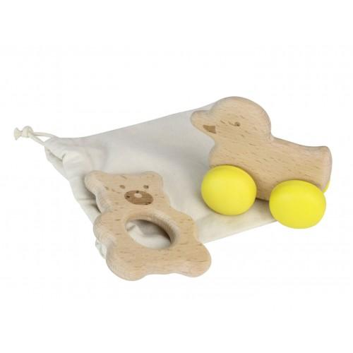 Sada - dřevěné zvíře na kolečkách a kousátko – medvěd a kachna