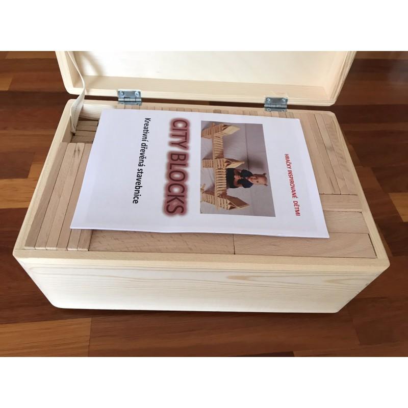 Dřevěná stavebnice City Blocks DELUXE - 200ks hranolů