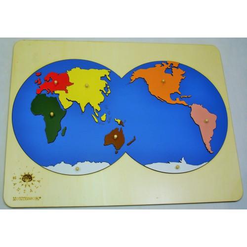 Puzzle mapa Kontinenty