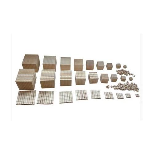 Dřevěný krychlový materiál - velký - aritmetické multizákladnové bloky