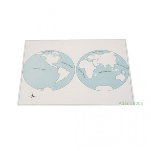 Kontrolní mapa světadíly - slepá