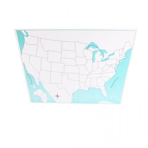 Kontrolní mapa USA - slepá